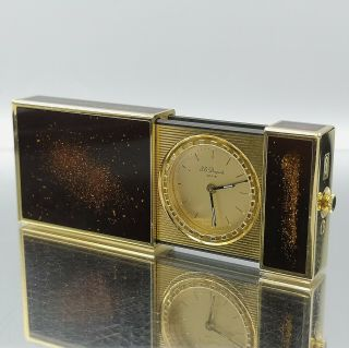 Great Rare St Dupont Pocket Travel Watch Gold Dust Lack Lighter Size