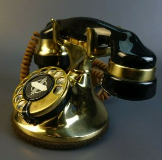 Vintage Rotary Dial Art Deco Table Desk Brass & Black Telephone
