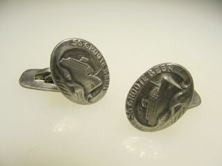 Rare Historical Vintage Silver Ss Costa Rica Victory Ss Groote Beer Cufflinks