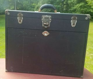 Vintage H.  Gerstner & Sons Oak Leather Machinist Tool Box Chest W/ 11 Drawers