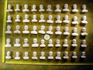 50 X Excavated Faded Painted Vintage Bisque Doll Heads Germany Hertwig Age 1890
