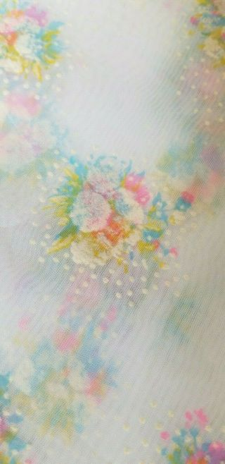 Vintage Flocked Fabric Colorful Floral Cluster Sheer Flocked Dotted Swiss Fabric