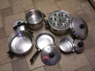 Vintage Saladmaster Tri - Clad Stainless Cookware 11 Piece Set Skillet Pans Poach