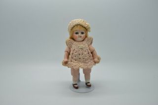 Antique Germany Porcelain Bisque Googly Doll With Glass Eye Cute Little Dress