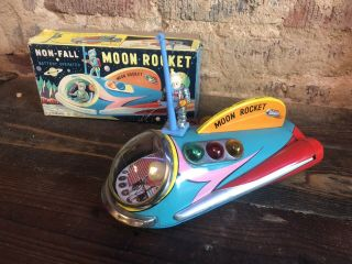 Moon Rocket By Modern Toys.  Japan.  Battery Operated Vintage W/box Rare Tin