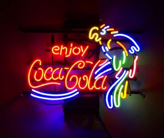 Enjoy Cola Parrot Vintage Hand Craft Neon Sign Light Boutique Workshop Decor