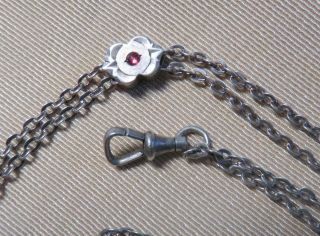 Antique Victorian Watch Slide And Chain Red Stone For Ladies Watch