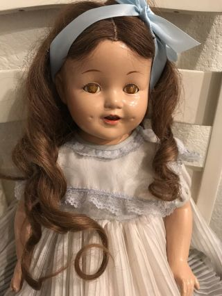 Antique Composition/cloth Girl Doll 27 Inches Tall Sleep Eyes