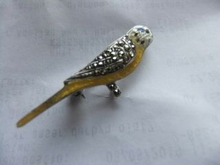 Rare Sterling Silver Art Deco Guilloche Enamelled Budgie Bird Brooch Vgc