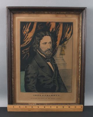 Rare N.  Currier John Freemont Political Campaign Candidate Lithograph Poster