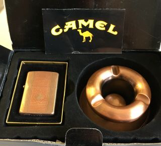 Rare Camel Cigarette Zippo Copper Lighter & 2 Pc Ashtray Set C 03 Usa Vgc
