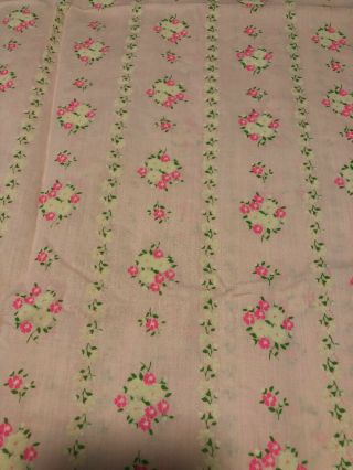 Vintage Girly Pink Pretty Rows Of Pink & White Flowers 3 Yards 44 Wide