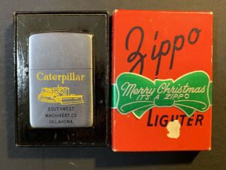 1949 - 50 Zippo W/ Caterpillar Graphic And Rare Red Merry Christmas Box