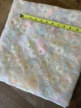 Vintage Sheer Flocked Floral Daisy Fabric 1.  5 Yds