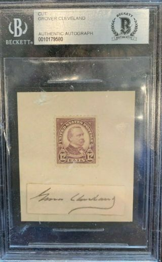 President Grover Cleveland Cut Signature - Beckett Certified Authentic Rare