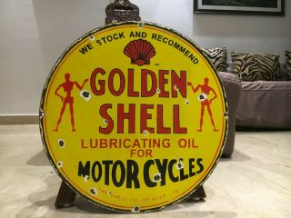 Vintage Porcelain Shell Golden Gasoline Sign Gas,  Oil,  Ford,  Gmc,  Chevrolet
