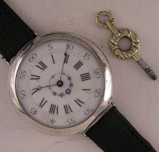 Serviced Haussy Nogent Le Rotrou 1870 French Silver Wrist Watch Perfect