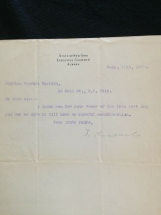 Theodore Roosevelt Signed Letter - 1899 - Rare