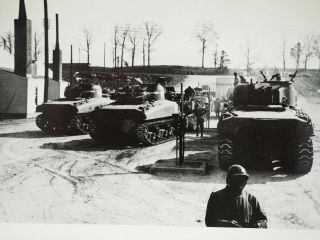 """Wwii Line Of Shermans Fueling Up Before Deployment 1943 B&w 4 """" X 6.  25 """""""