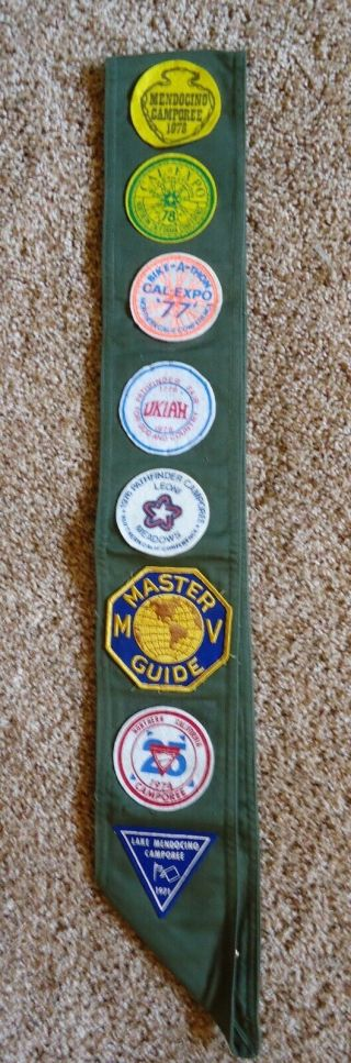 Vintage Sda Mv Club Pathfinder Sash With10 Pins,  23 Honor Patches,  & 9 Camporee
