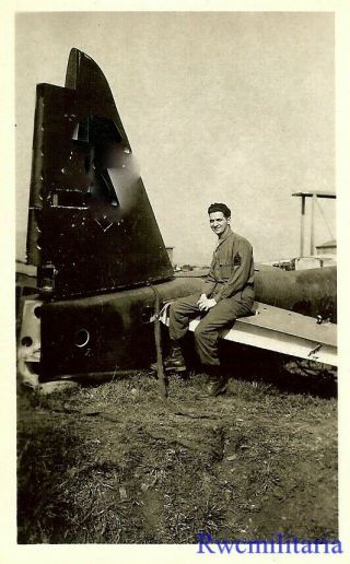 Org.  Photo: Us Soldier Posed On Tail Section Of Luftwaffe Bomber; France 1945