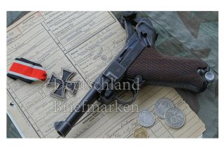 Germany Third Reich Wehrmacht Waffen Ss Offciers Luger Iron Cross Ww2 Photo