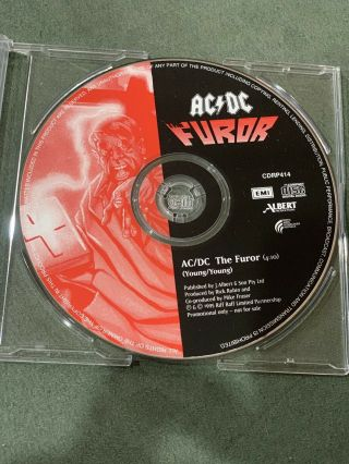 Ac/dc - The Furor Very Rare Promo Cd Single 1996 Cdrp414 Promotional Not
