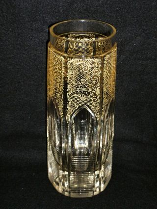 Rare 19th C Baccarat Crystal Gold Rocailles Vase W/ Gothic Cathedral Windows