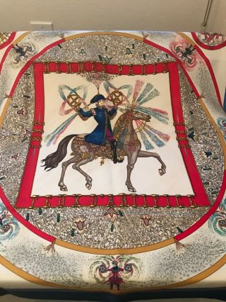 Hermes Scarf: Rare / Vintage.  Red,  White And Blue.  Feux D' Artifice.  1987 Anniv