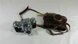 Vintage Contax Carl Zeiss Ikon 35 Mm Camera With Leather Case Made In Germany