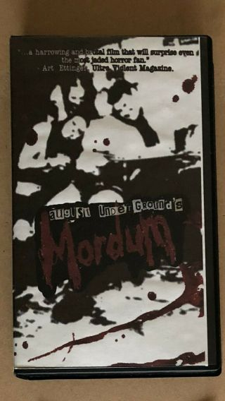 August Underground ' s Mordum VHS rare w/ collectors pack 2