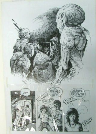 Art Vince Locke 1980 Vincent Rare Comic Book Page Signed - Dead World ?
