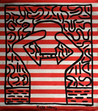 Vintage Abstract Canvas Signed Keith Haring,  Modern Art