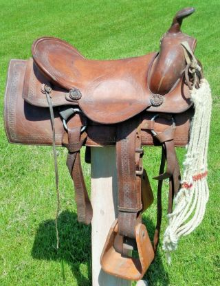 Old Vintage Antique Leather Cowboy Western Horse Saddle Wide Wood Stirrups No Re