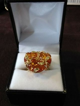 Rare 18k Solid Gold Amber Italian Rajola Cocktail Ring - Gold - Elegant - Size 9