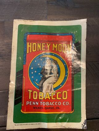Very Rare Honeymoon Tobacco Tin Tacker (two On The Moon) Sign