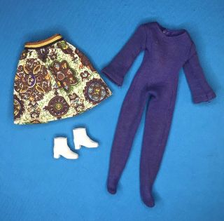 1972 Vintage Kenner Blythe Doll Pinafore Purple Outfit Clothes Shoes