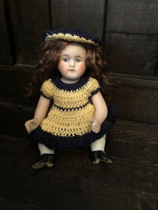 "Antique German Rare 5.  25"" Bent Knee Seated All Bisque Kestner Doll Mold 30"