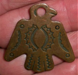 Antique C.  1930 Navajo Copper Thunderbird Pendant Charm Great Stampwork Vafo