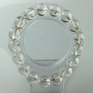Rare!12mm Natural Pyrite In Natural Clear Quartz Crystal Round Bead Bracelet - 39g