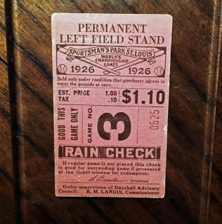 Very Rare 1926 World Series Game 3 Ticket - Yankees Vs Cardinals Babe Ruth