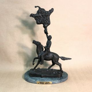 "Vtg Frederic Remington The Buffalo Signal Bronze Sculpture Statue 17"" Signed"
