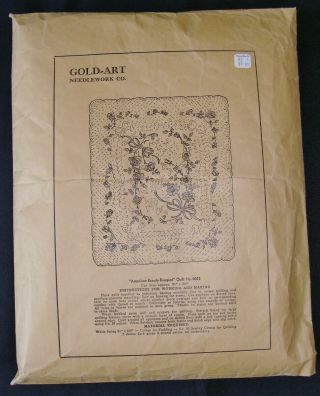 Vintage Gold Art American Beauty Bouquet Applique Quilt Top Kit No.  0052