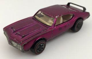 Rare Hot Wheels Redline 1971 Magenta Olds 442 Black Spoiler