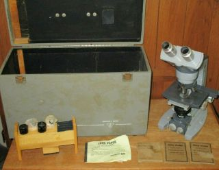 Vintage Heavy American Optical Ao Spencer Lab Microscope 4 Objectives Case More