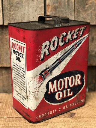 Vintage 2 Gallon Rocket Motor Oil Gas Service Station Tin Can Sign