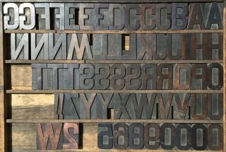 """Vintage Wood Letterpress Print Type Block 61 Letters Numbers 4 1/4 """" 4.  25 Inches"""