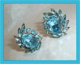 Sherman Sky Blue - Aquamarine - Large Oval Crystal Cluster Earrings Nr