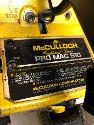 Vintage Mcculloch Pro Mac 510 Chainsaw Complete