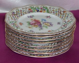 Vintage Shumann Dresden Porcelain 8 Hand Painted Reticulated Plates